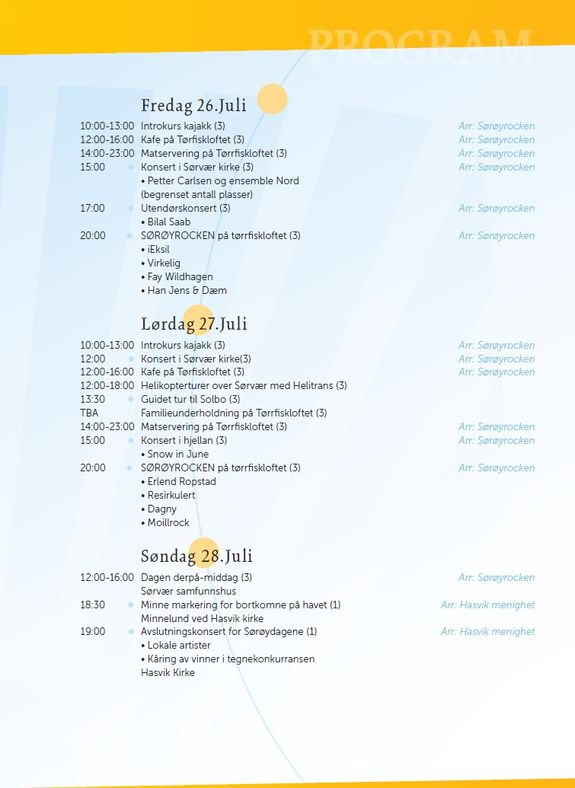 Program for Sørøysommer 2019