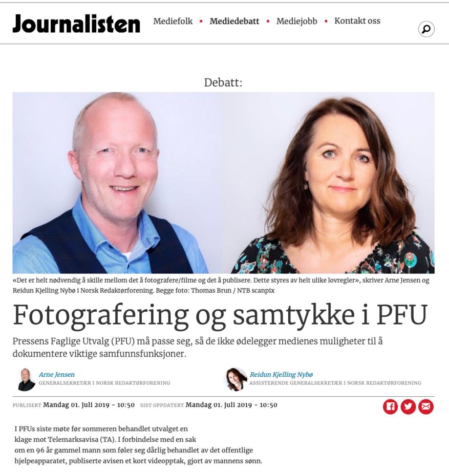Faksimile fra Journalisten.no 1. juli 2019.