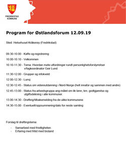 Program for møte i Østlandsforum 12. september 2019
