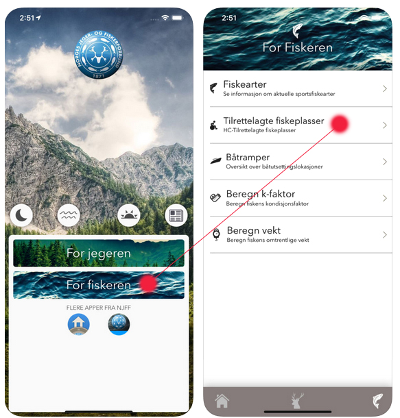 Bildet viser hvordan man finner tilgjengelige fiskeplasser i app fra Norges jeger- og fiskerforening sin app