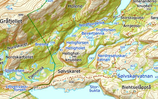 Kart Rago med sti inntegnet