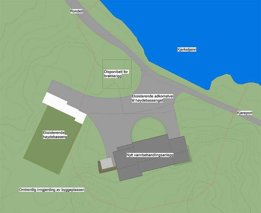 Kart over nytt vannverk i Vannbassengan