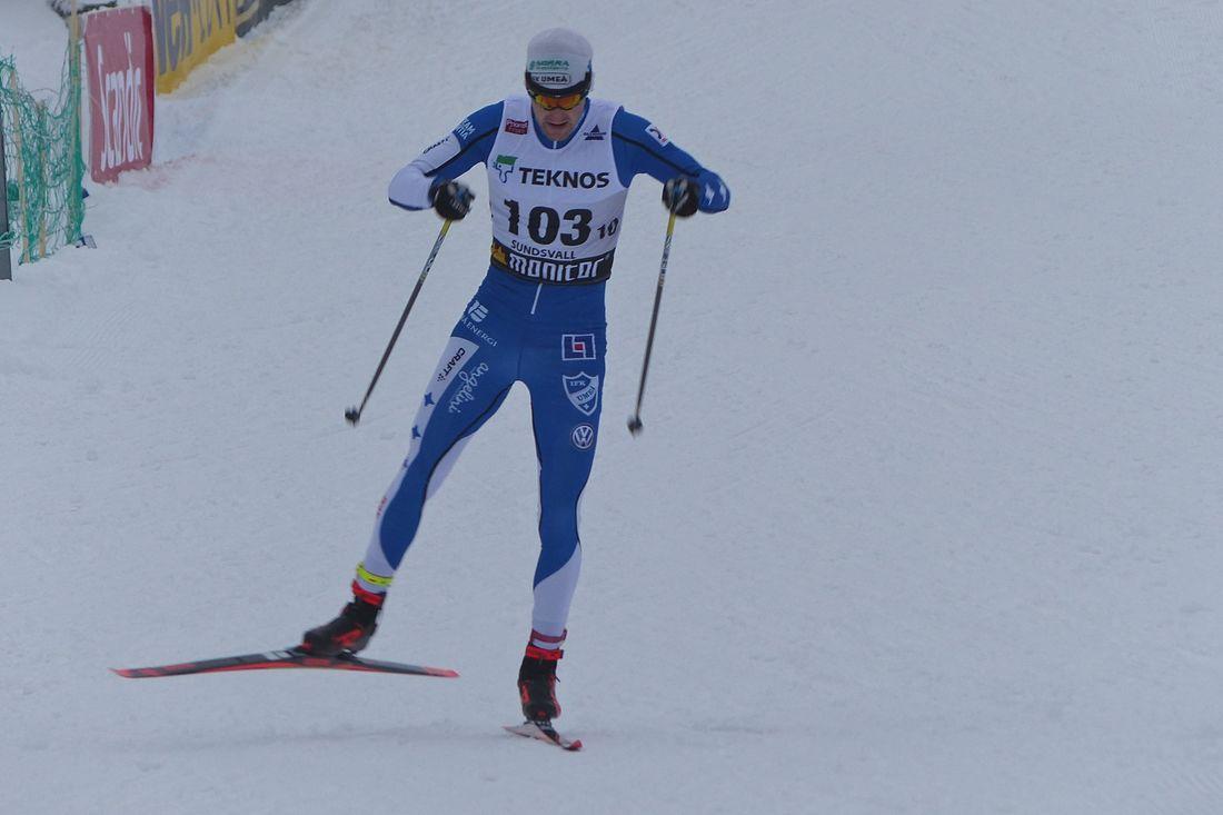 Toedor Peterson åkte in som femma på Blinkfestivalens sprint på lördagen. Bilden från SM i Sundsvall i vintras. FOTO: Johan Trygg/Längd.se.