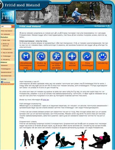 Bilde av den gamle nettsiden til fritid for alle