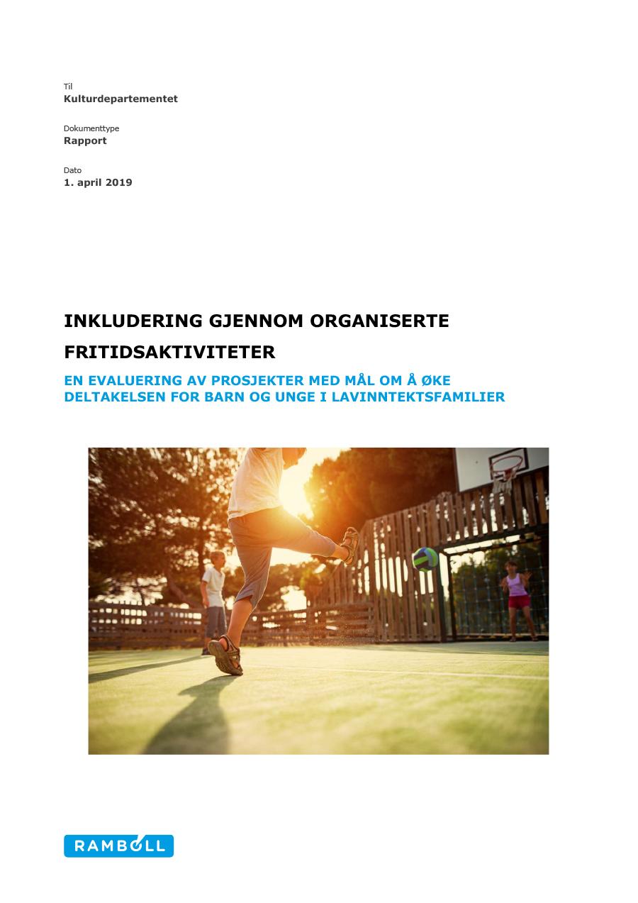 Omslagsbilde til rapporten Inkludering gjennom organiserte fritidsaktiviteter