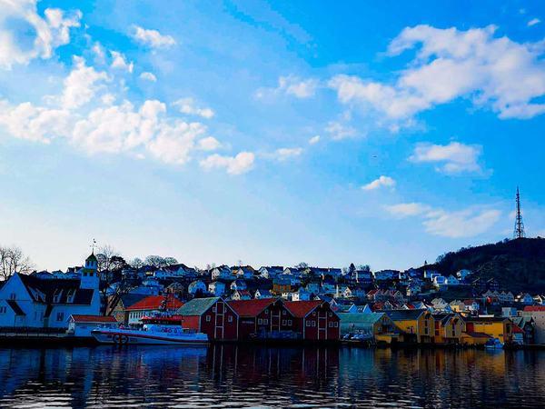 Egersund sentrum fra sjøen