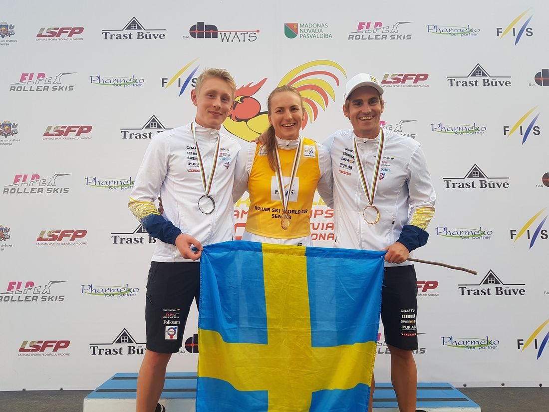 Johan Ekberg, Linn Sömskar och Victor Gustafsson är tre starka svenska kort vid världscupavslutningen på rullskidor. FOTO: Svenska skidförbundet.