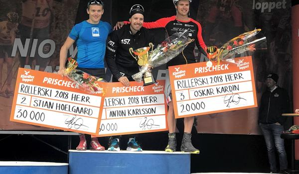 Anton Karlsson vann Klarälvsloppet före Stian Hoelgaard och Oskar Kardin i fjol. Vem vinner herrklassen i år? FOTO: Klarälvsloppet.