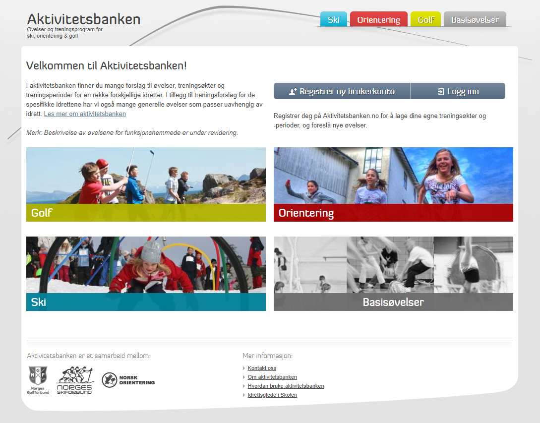 Skjermbilde av nettsiden til aktivitetsbanken.no