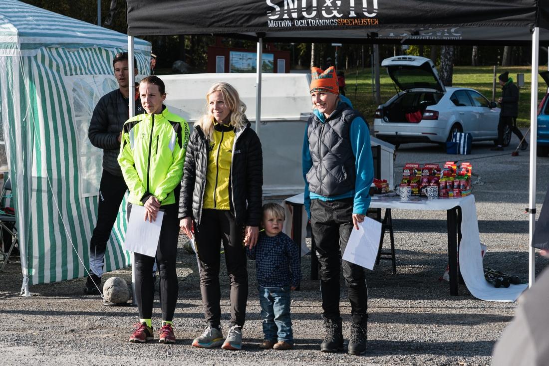 Fr.v. Jenni Ehn Gårdhage, tvåa på Gålörullen och totalvinnare av Snö & Tö Rullskidstour, Elin Mcallan etta och Linda Forsström trea. FOTO: Andreas Karlsson.
