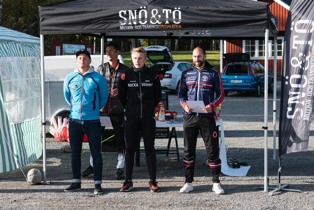 Fr.v. Jonathan Hedbys, tvåa på Gålörullen och totalvinnare av Snö & Tö Rullskidstour, Johan Ekberg etta och Robert Brudin trea. FOTO: Andreas Karlsson.