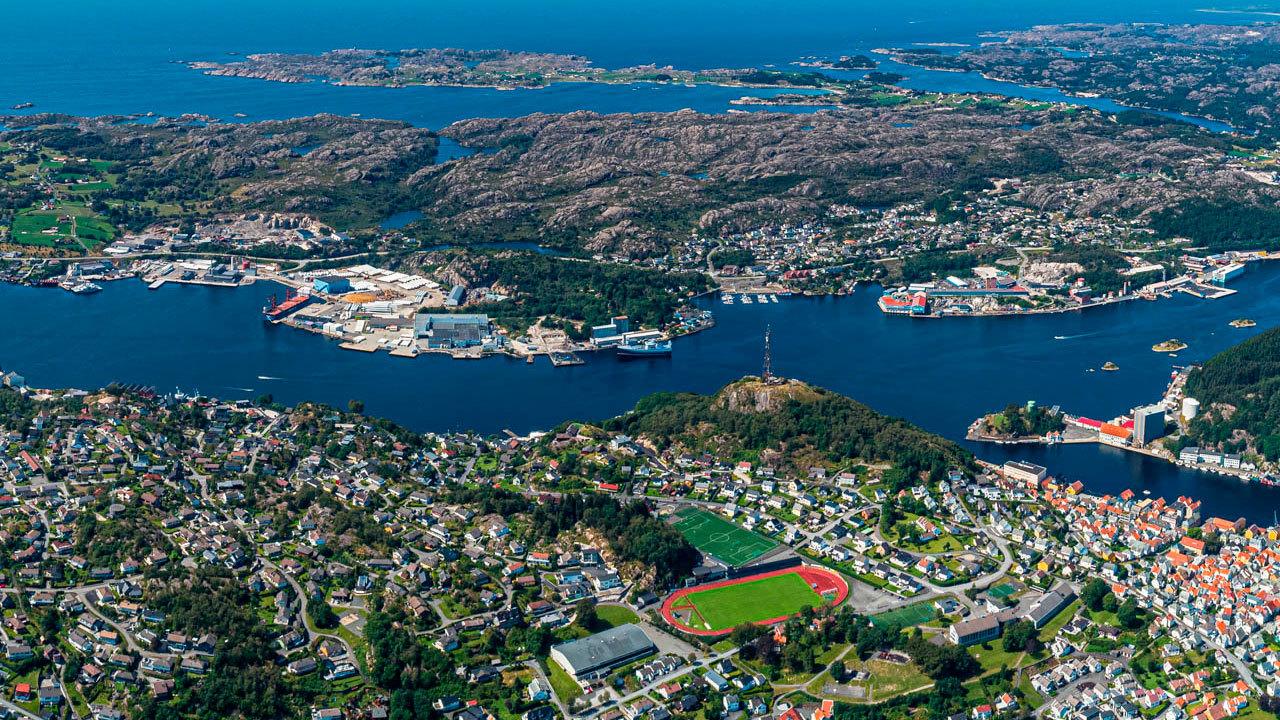 Egersund havn fra luften