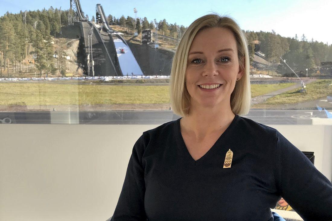 Svenska Skidspelens VD Ulrika Back Eriksson presenterar sin vision för 2023. FOTO: Svenska Skidspelen.