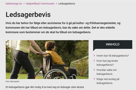 Skjermbilde av nettsiden til HelseNorge som omtaler ledsagerbevis