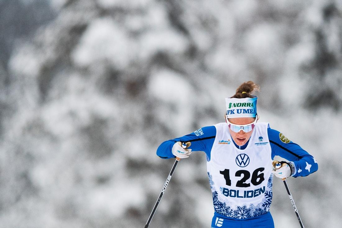 Elina Rönnlund åkte starkt och slutade fyra. FOTO: Bildbyrån/Mathias Bergeld.