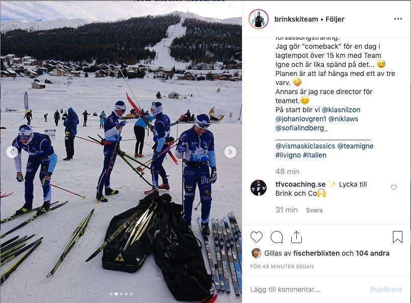 Här ser vi teamet under torsdagens förberedelser i Livigno. FOTO: Instagram/brinkskiteam.