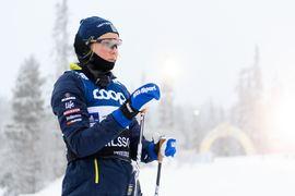 Stina Nilsson har en stressfrakur i revbenet som har minst sex veckors läkningstid. FOTO: Bildbyrån/Carl Sandin.