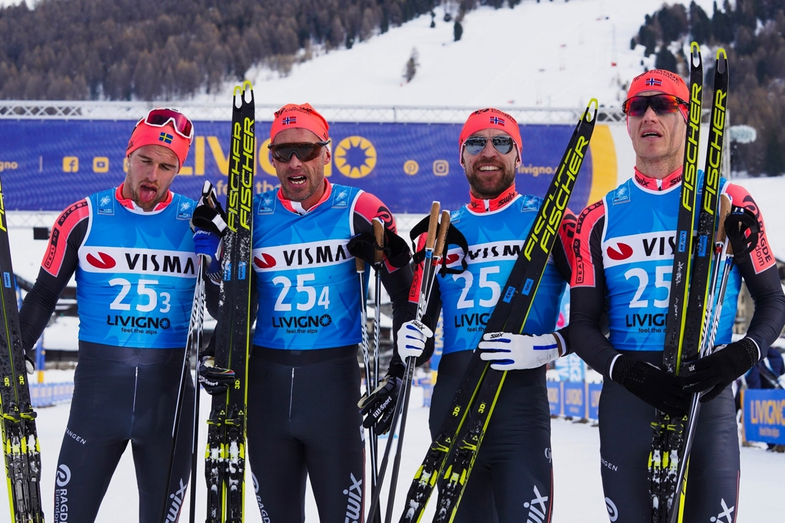 Team Ragde Eiendom var snabbast på herrarnas Pro Team Tempo med från vänster Oskar Kardin, Anders Aukland, Tord Asle Gjerdalen och Petter Eliassen. FOTO: Visma Ski Classics/Magnus Östh.