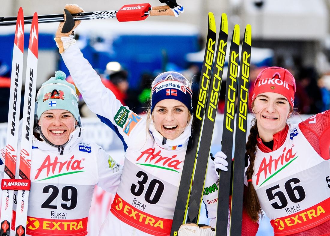 Topp tre: Krista Pärmäkoski, Therese Joaug och Natalia Nepryaeva. FOTO: Bildbyrån/Carl Sandin.