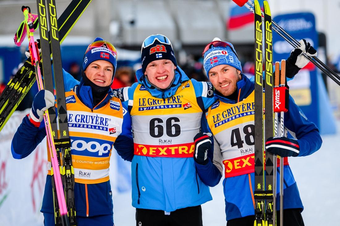 Topp tre: Johannes Hösflot Kläbo, Iivo Niskanen och Emil Iversen. FOTO: Bildbyrån/Carl Sandin.