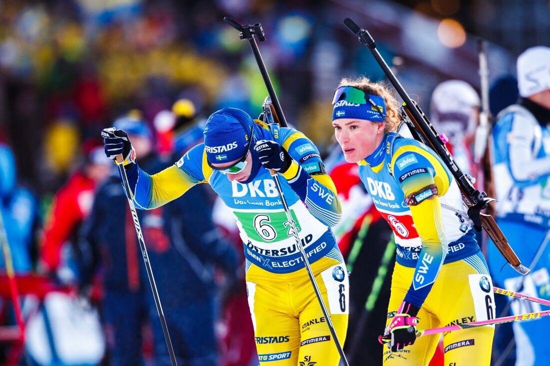 Sebastian Samuelsson, tillsammans med Hanna Öberg, slutade tvåa på singelmixstafetten i Oberhof. FOTO: Bildbyrån/Johan Axelsson.