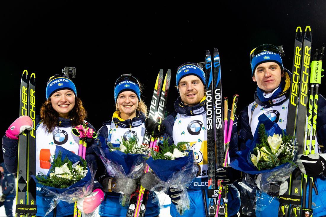 En fint tredjeplats blev det för Linn Persson, Mona Brorsson, Jesper Nelin and Martin Ponsiluoma på mixstafetten i Östersund. FOTO: Bildbyrån/Johan Axelsson.