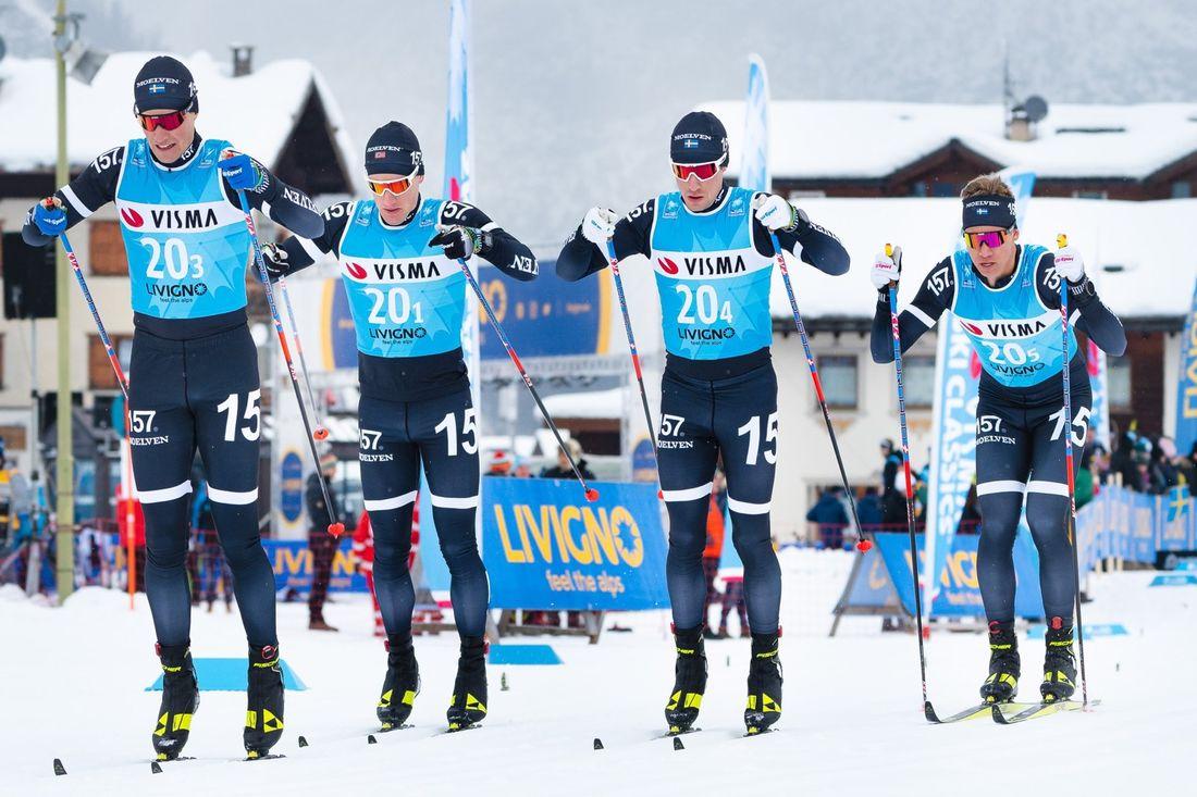 Lager 157 Ski Team med Andreas Holmberg, Öyvind Moen Fjeld, Marcus Johansson och Emil Persson under fredagens Pro Team Tempo. I morgon går Visma Ski Classics vidare med 35 kilometers prolog. FOTO: Visma Ski Classics/Magnus Östh.