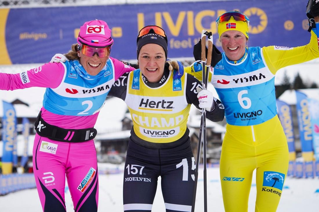 Topptrion Smutna, Johansson Norgren och Vikhagen Gjeitnes. FOTO: Visma Ski Classics/Magnus Östh.