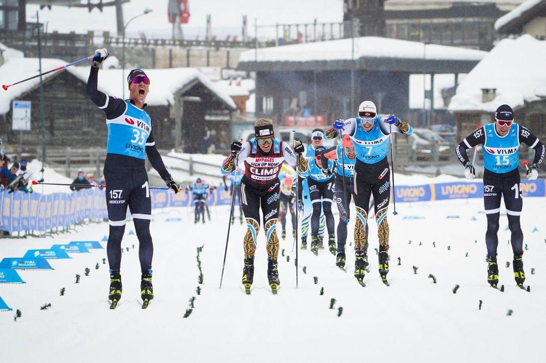 Emil Persson fullbordade Lager 157:s succehelg i Livigno med seger i herrarna prolog. FOTO: Visma Ski Classics/Magnus Östh.
