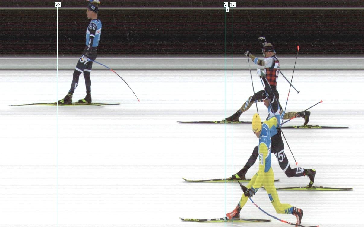 Fotofinishen bakom Emil Persson. Morten Eide Pedersen före Stian Hoelgaard och Marcus Johansson. FOTO: Visma Ski Classics.
