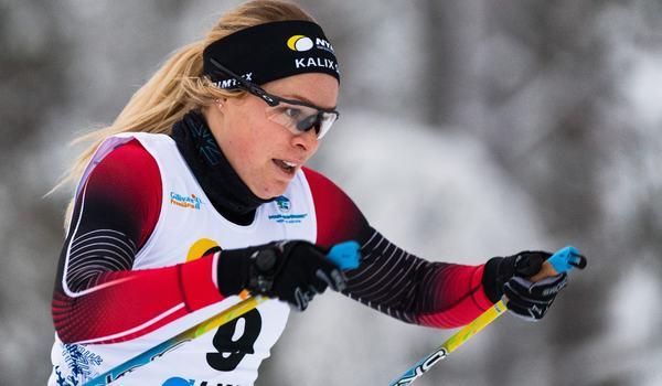 Jennie Öberg, här i Kalix SK-dräkten, är tillbaka i den svenska färgerna vid Skandinaviska cupen i Vuokatti. FOTO: Bildbyrån/Mathias Bergeld.