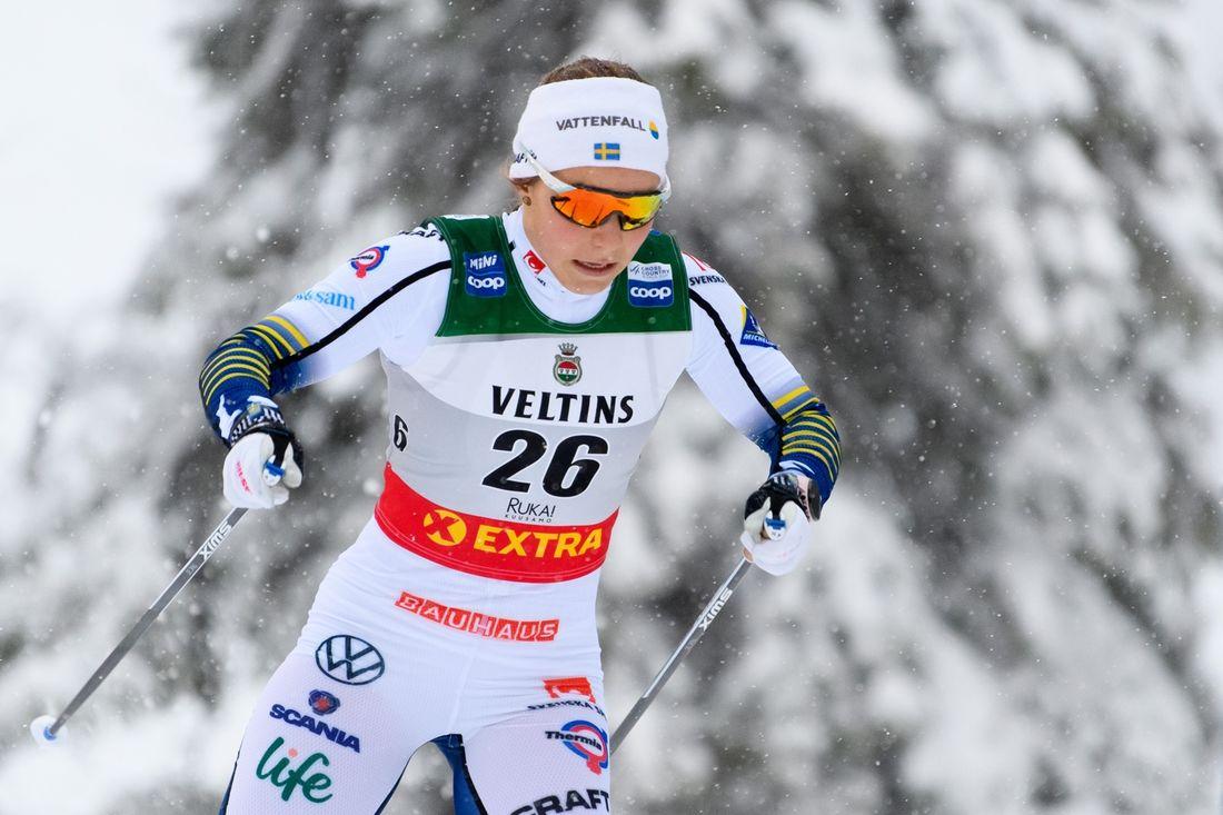 Johanna Hagström slutade trea i sprinten på Skandinaviska cupen i Vuokatti. FOTO: Bildbyrån/Carl Sandin.