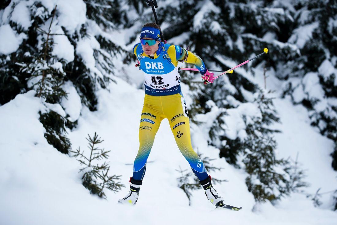 Hanna Öberg tog vinterns bästa placering hittills när hon slutade femma på sprinten i Hochfilzen. FOTO: Bildbyrån - GEPA PICTURES/Jasmin Walter.