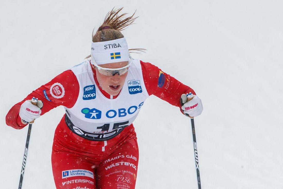 Det blev seger för Maria Nordström på Skandinaviska cupens masstart på lördagen. FOTO: Bildbyrån/Daniel Eriksson.