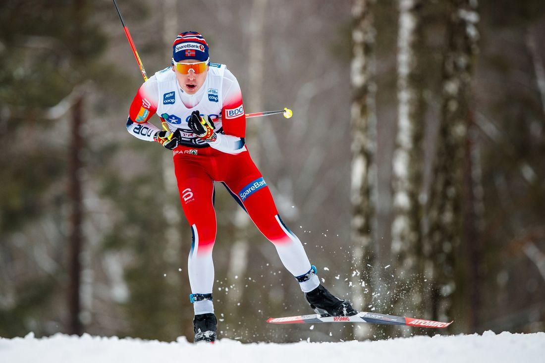 Simen Hegstad Krüger vann rullskidtävlingen Holmenkollen Skishow på onsdagskvällen. FOTO: FOTO: Bildbyrån/Daniel Eriksson.