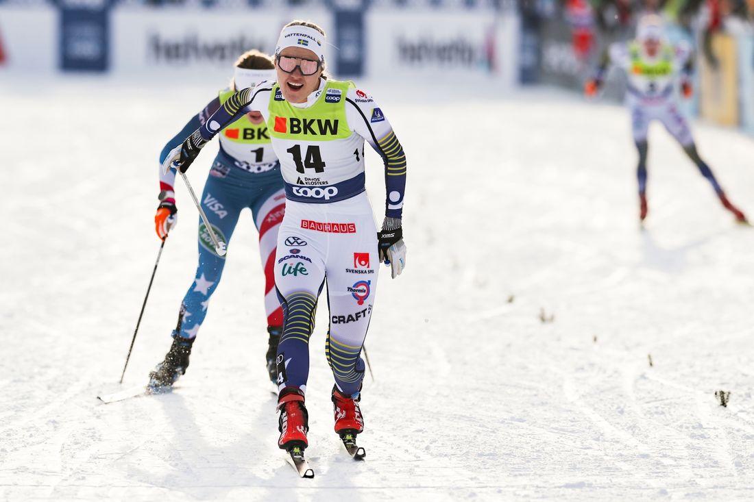 Linn Svahn är nu tillbaka i världscupen på helgens sprinttävlingar i Dresden. Här är Linn vid segern i Davos i december. FOTO: Bildbyrån - GEPA PICTURES/Patrick Steiner.