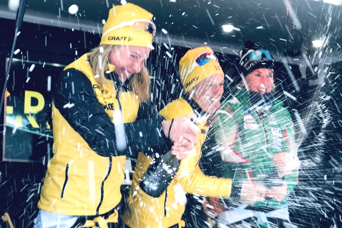 Livat värre på pallen efter Åre Swix Open. Fr.v. tvåan Ida Dahl, etta Lina Korsgren och trean Evelina Bångman. FOTO: Åre Swix Open.