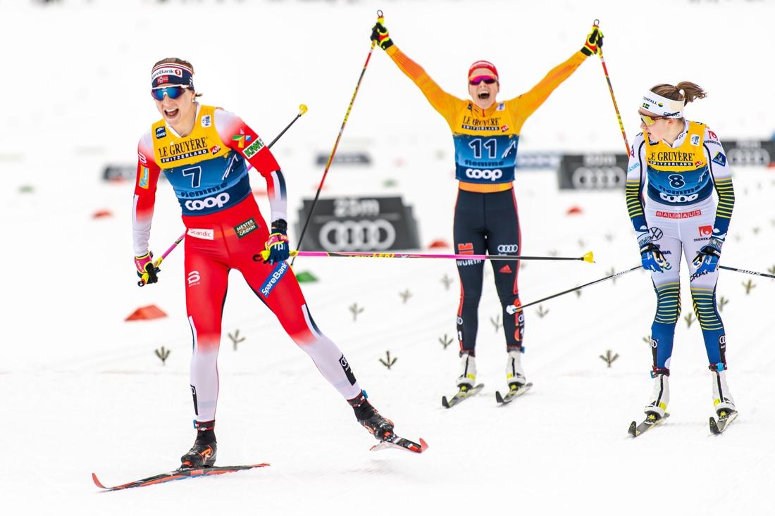 Jacobsen före Andersson och en jublande glad Hennig som trea. FOTO: Bildbyrån/Daniel Bergeld.