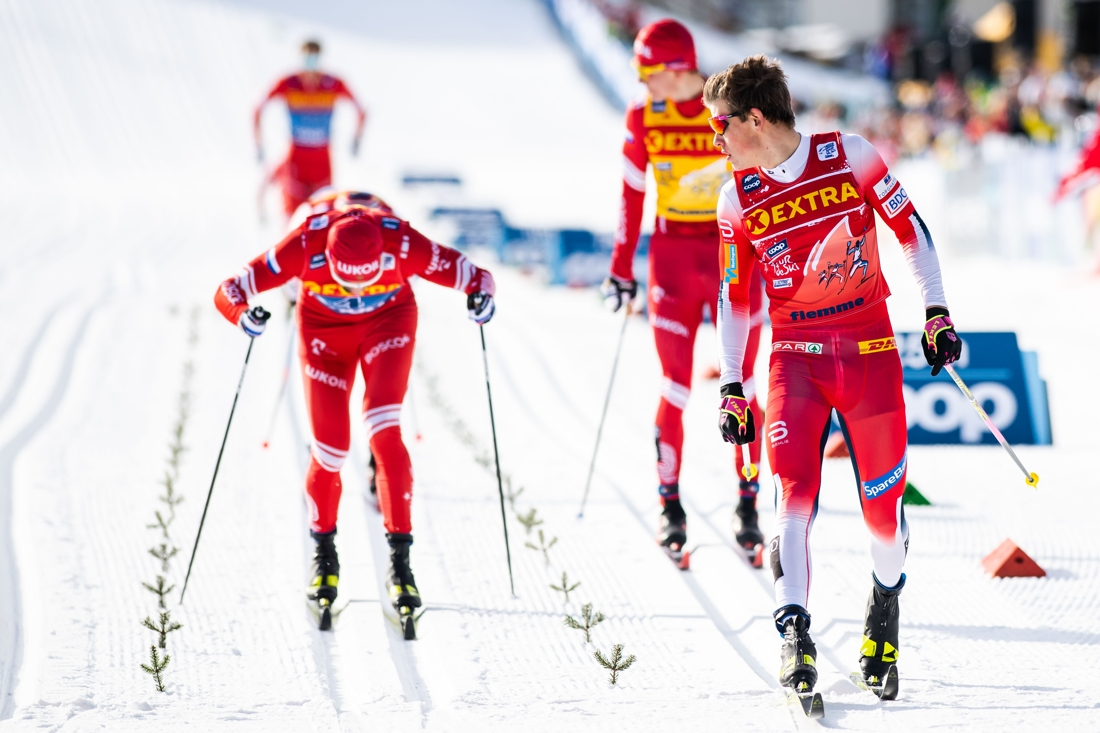 Kläbo lekte hem finalen före Ustiugov och Bolshunov. FOTO: Bildbyrån/Mathias Bergeld.