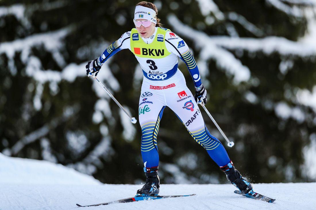 Moa Olsson var fin tvåa på Skandinaviska cupen i norska Nes på lördagen. Här är Moa vid världscupen i Davos nyligen. FOTO: Bildbyrån - GEPA PICTURES/Patrick Steiner.
