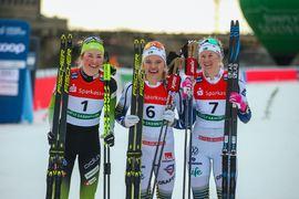 Topp tre i Dresden. Tvåan Anamarija Lampic , vinnaren Linn Svahn och trean Maja Dahlqvist. FOTO: Bildbyrån - GEPA PICTURES/Philipp Brem.
