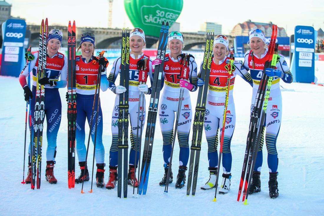 Nadine Fähndrich, Laurien Van Der Graaff, Schweiz, Linn Svahn och Maja Dahlqvist Sverige lag 1 samt Evelina Settlin och Linn Sömskar, Sverige lag 2. FOTO: Bildbyrån - GEPA PICTURES/Philipp Brem.