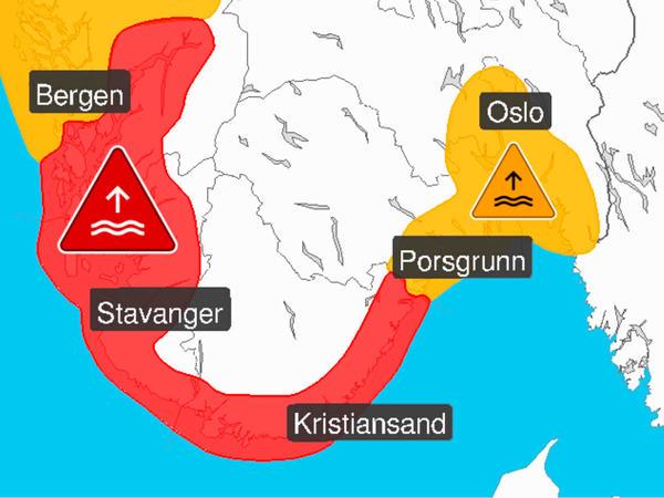 Rødt nivå for vannstand i sør-norge