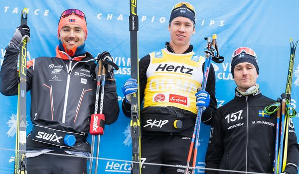 Emil Persson vann Kaiser Maximilian Lauf i lördags före Andreas Nygaard och Marcus Johansson. Nu missar han La Diagonela i morgon på grund av en förkylning. FOTO: Visma Ski Classics/Magnus Östh.