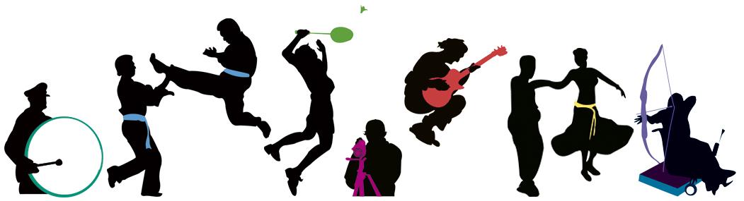 Collage som viser silhuetter av personer som driver med ulike aktiviteter, både idrett, musikk og annet