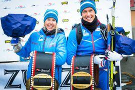 Astrid Öyre Slind och Chris Andre Jespersen var suveräna vinnare av La Diagonela i Schweiz. FOTO: Visma Ski Classics/Magnus Östh.