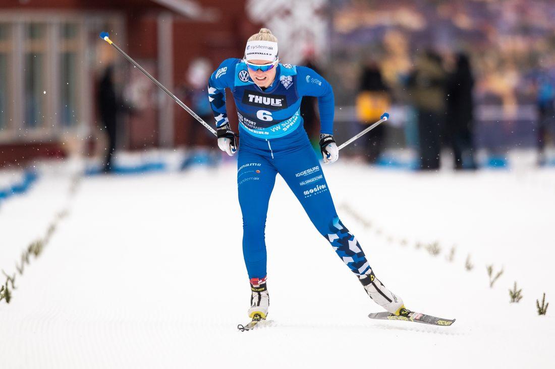 Jackline Lockner vann supersprinten i Trysil på fredagskvällen. FOTO: Bildbyrån/Johan Axelsson.