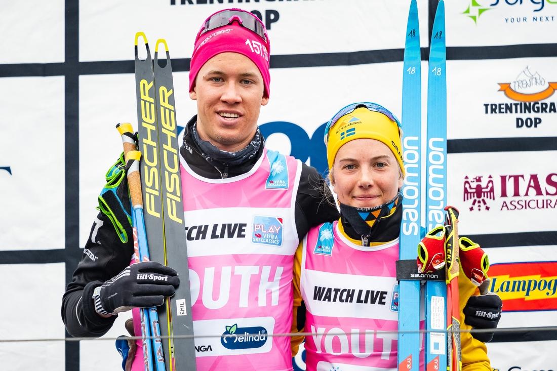 Emil Persson och Ida Dahl toppar Visma Ski Classics ungdomstävling. FOTO: Visma Ski Classics/Magnus Östh.