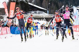 Emil Persson spurtade hem segern på Kaiser Maximilan Lauf närmast före Andreas Nygaard och Marcus Johansson. Är det dags för de två Lager 157-killarna att kliva upp på pallen igen i morgon på Toblach-Cortina? FOTO: Visma Ski Classics/Magnus Östh.