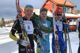 Topptrion i herrklassen på Wadköpingsloppet. Fr.v. tvåan Andreas Svensson, ettan Gabriel Thorn och trean Gabriel Höjlind. FOTO: Skistart.com Ski Challenge.